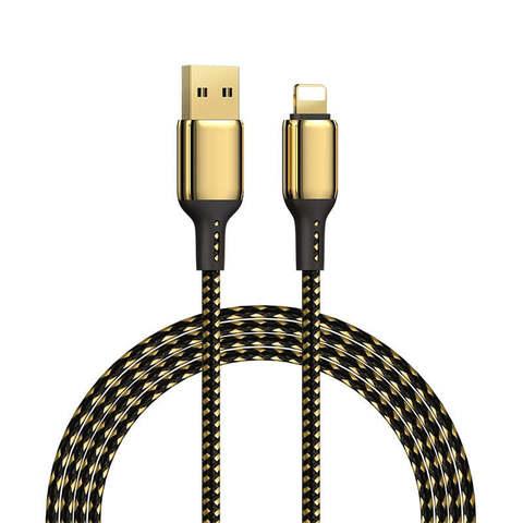 Кабель позолоченый для быстрой зарядки WiWU GD-101 USB-Type-C, 1.2м, черный